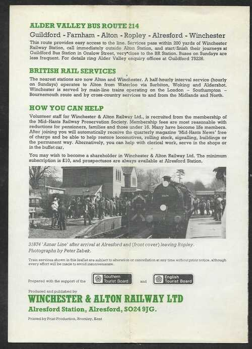 Wattercress line steamtrain - 1977 Timetable and Fares leaflet