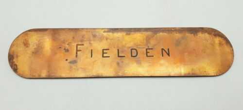 Antique Copper Fielden LMS Railway Sign Plaque