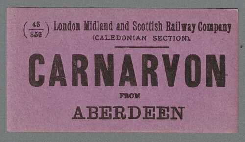 LONDON MIDLAND and SCOTTISH RAILWAY LUGGAGE LABEL- CARNARVON from Aberdeen (Caley